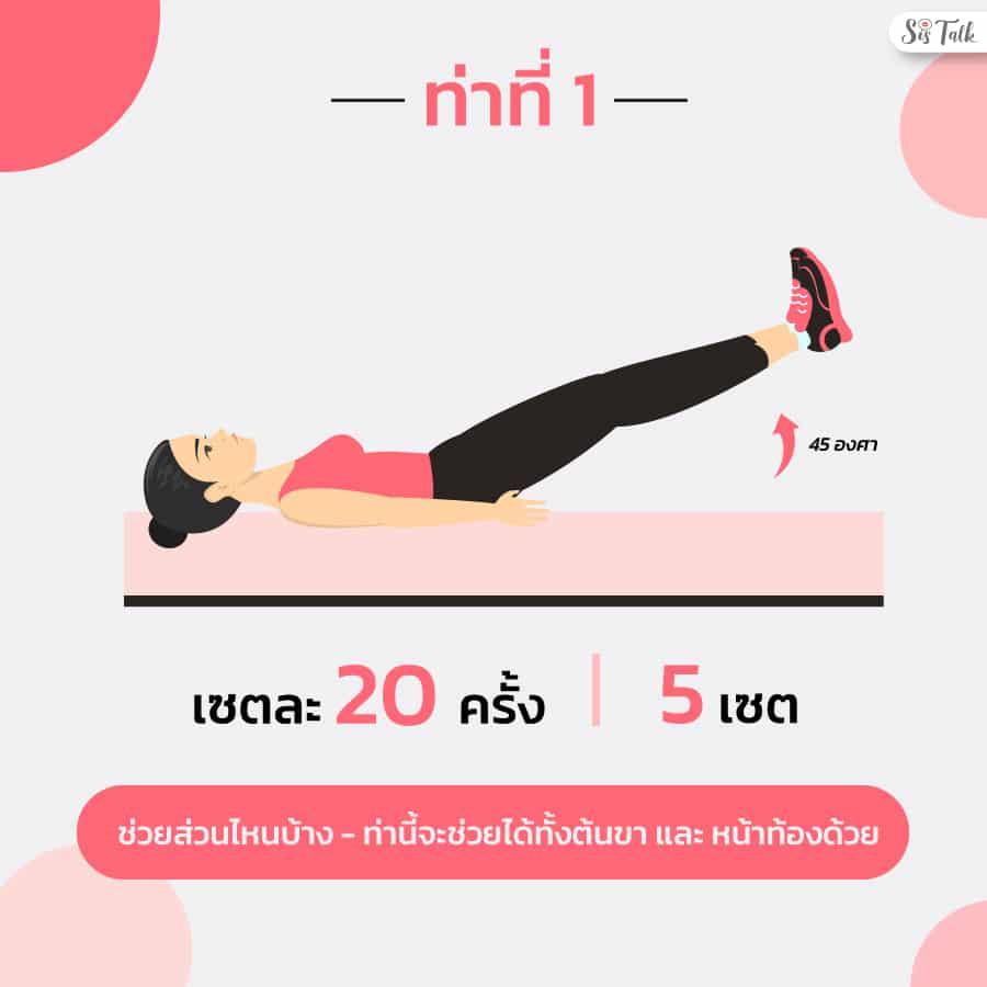 ลดต้นขาบนที่นอน